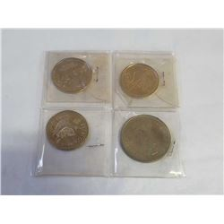 4 COMMEMORATIVE COINS - PRINCE OF WALES AND LADY DIANA SPENCER, VISIT PRINCE OF WALES TO LUNENBURG N