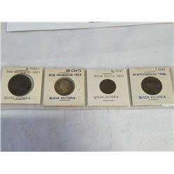 4 1800s QUEEN VICTORIA COINS - NEW BRUNSWICK 1843 1/2 PENNY, NEW BRUNSWICK 1862 20 CENT, NOVA SCOTIA