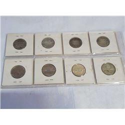 8 CANADA 25 CENT COINS - 1886 SILVER, 1902 SILVER, 1914 SILVER, 1947 SILVER, 1956 SILVER, 1967 SILVE
