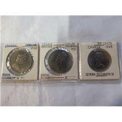 2 CANADIAN DOLLARS AND 50 CENT PIECE QUEEN ELIZABETH II 1968, 1969, 1971