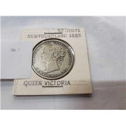 CANADA SILVER 50 CENT PIECE NEWFOUNDLAND 1885 QUEEN VICTORIA