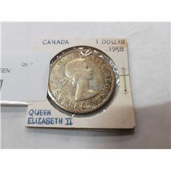 CANADA SILVER DOLLAR 1958 QUEEN ELIZABETH II