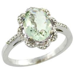 1.94 CTW Amethyst & Diamond Ring 14K White Gold - REF-45Y8V