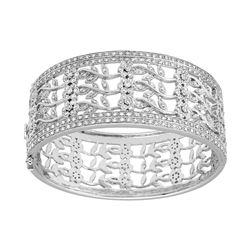 Natural 2.94 CTW Diamond Bangle 14K White Gold - REF-625M5F