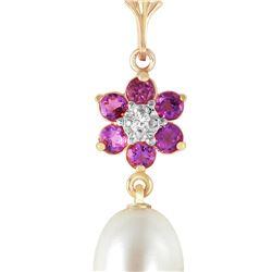 Genuine 4.53 ctw Pearl, Amethyst & Diamond Necklace 14KT Yellow Gold - REF-29Y7F
