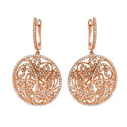 Natural 1.66 CTW Diamond Earrings 14K Rose Gold - REF-143Y3N