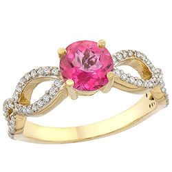 1.25 CTW Pink Topaz & Diamond Ring 14K Yellow Gold - REF-49X8M