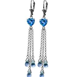Genuine 9.5 ctw Blue Topaz Earrings 14KT White Gold - REF-62R2P