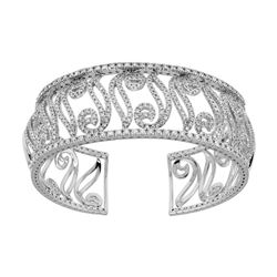 Natural 4.74 CTW Diamond Bangle 14K White Gold - REF-611Y3N