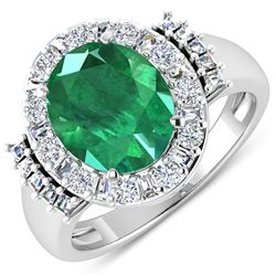 Natural 3.97 CTW Zambian Emerald & Diamond Ring 14K White Gold - REF-168W2X