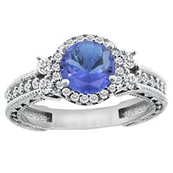 1.46 CTW Tanzanite & Diamond Ring 14K White Gold - REF-96W3F