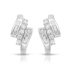 Natural 0.74 CTW Diamond & Baguette Earring 14K White Gold - REF-90R2K