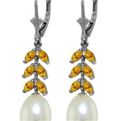 Genuine 9.2 ctw Pearl & Citrine Earrings 14KT White Gold - REF-45Y8F