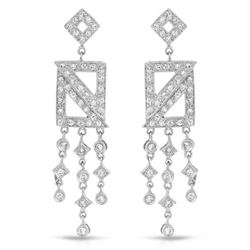 Natural 0.95 CTW Diamond Earrings 18K White Gold - REF-127X8T