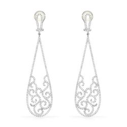 Natural 4.22 CTW Diamond Earrings 14K White Gold - REF-554M4F