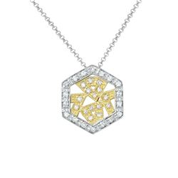 Natural 0.32 CTW Diamond Necklace 14K Two Tone Yellow Gold - REF-55M8F