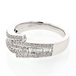 Natural 0.47 CTW Baguette & Diamond Ring 18K White Gold - REF-102Y6N