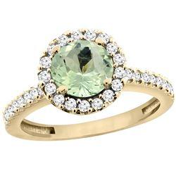 1.13 CTW Amethyst & Diamond Ring 10K Yellow Gold - REF-54N3Y