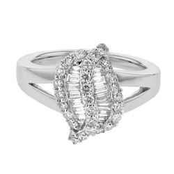 Natural 0.79 CTW Diamond & Baguette Ring 18K White Gold - REF-146Y7N