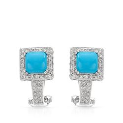 Natural 2.81 CTW Turquoise & Diamond Earrings 14K White Gold - REF-102X6T