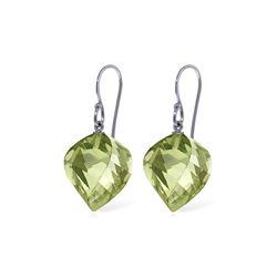Genuine 26 ctw Green Amethyst Earrings 14KT White Gold - REF-42R2P