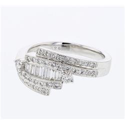 Natural 0.60 CTW Baguette & Diamond Ring 18K White Gold - REF-104X4T