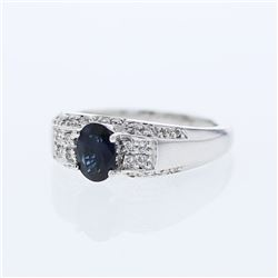 Natural 1.30 CTW Sapphire & Diamond Ring 14K White Gold - REF-70R2K