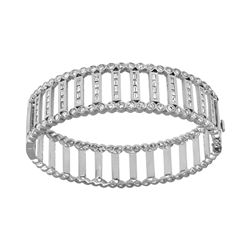 Natural 2.58 CTW Diamond & Baguette Bracelet 14K White Gold - REF-460X8T