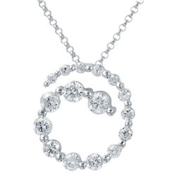 Natural 1.14 CTW Diamond Necklace 14K White Gold - REF-130R5K