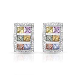 Natural 5.16 CTW Sapphire & Diamond Earrings 14K White Gold - REF-128X7T