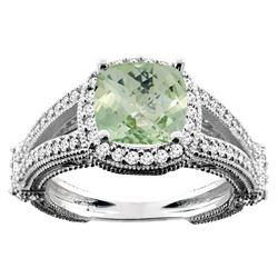 4.10 CTW Amethyst & Diamond Ring 10K White Gold - REF-43W5F