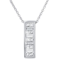 Natural 0.50 CTW Baguette & Diamond Necklace 14K White Gold - REF-67R5K