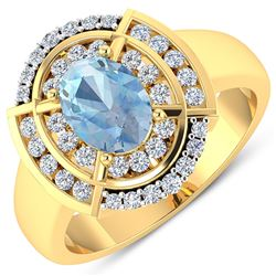 Natural 2.57 CTW Aquamarine & Diamond Ring 14K Yellow Gold - REF-65K2W