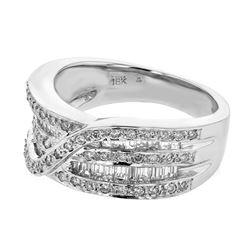 Natural 0.88 CTW Diamond & Baguette Ring 18K White Gold - REF-149M4F