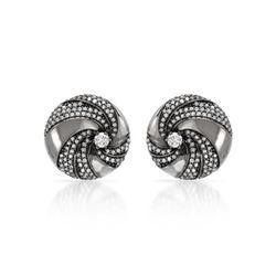 Natural 0.99 CTW Diamond Earrings 14K White Gold - REF-104Y4N