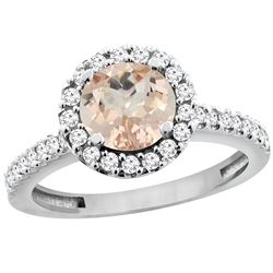 1.08 CTW Morganite & Diamond Ring 14K White Gold - REF-55F5N