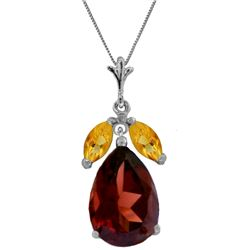 Genuine 6.5 ctw Garnet & Citrine Necklace 14KT White Gold - REF-42A2K