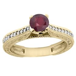 0.75 CTW Ruby & Diamond Ring 14K Yellow Gold - REF-53A5X