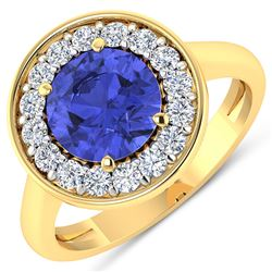 Natural 2.58 CTW Tanzanite & Diamond Ring 14K Yellow Gold - REF-101H7M
