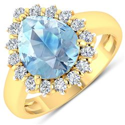 Natural 2.78 CTW Aquamarine & Diamond Ring 14K Yellow Gold - REF-88N7R