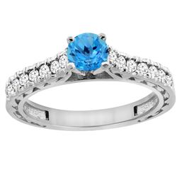 0.86 CTW Swiss Blue Topaz & Diamond Ring 14K White Gold - REF-62X4M
