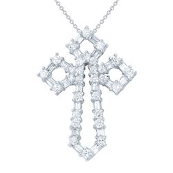 Natural 1.48 CTW Baguette & Diamond Necklace 18K White Gold - REF-189X9T