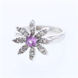 Natural 0.81 CTW Pink Sapphire & Diamond Ring 14K White Gold - REF-58H5W