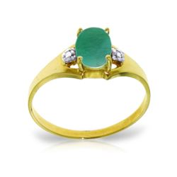 Genuine 1.26 ctw Emerald & Diamond Ring 14KT Yellow Gold - REF-26W2Y