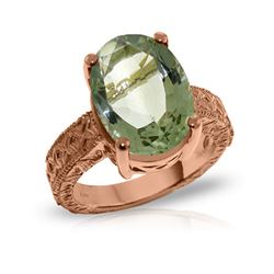 Genuine 7.5 ctw Green Amethyst Ring 14KT Rose Gold - REF-125A9K