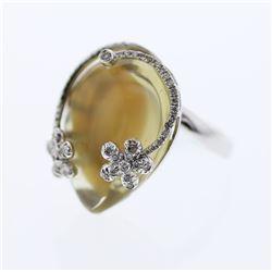 Natural 28.85 CTW Quartz & Diamond Ring 14K White Gold - REF-99M9F