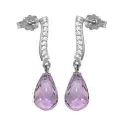 Genuine 4.78 ctw Amethyst & Diamond Earrings 14KT White Gold - REF-46A2K