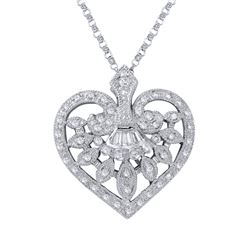 Natural 0.49 CTW Diamond & Baguette Necklace 18K White Gold - REF-81M2F