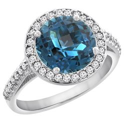 2.44 CTW London Blue Topaz & Diamond Ring 14K White Gold - REF-56W6F