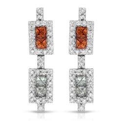 Natural 1.69 CTW Multi-Sapphire & Diamond Earrings 14K White Gold - REF-76H5W